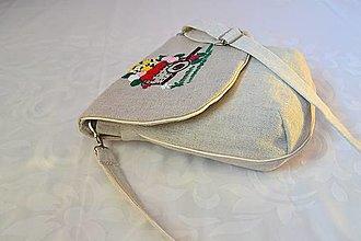 Kabelky - Ľanová kabelka s objemovou výšivkou, vozík plný kvetov - 11456242_