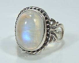 Prstene - Mesačný kameň strieborný prsteň - 11459991_