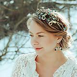 Ozdoby do vlasov - Mosadzný venček s apatitovými listami a bielymi kvetmi - Devanka - 11459228_