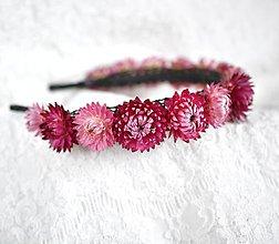 Ozdoby do vlasov - Kvetinová čelenka zo sušených kvetov Ružová - 11459835_