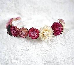 Ozdoby do vlasov - Kvetinová čelenka zo sušených kvetov Ružové odtienky - 11459863_
