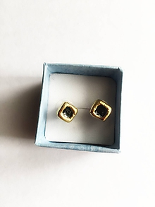 Náušnice - malé štvorčeky/keramika/ - 11460187_