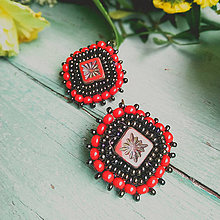 Náušnice - Boho earrings n.6 - vyšívané náušnice - 11459556_