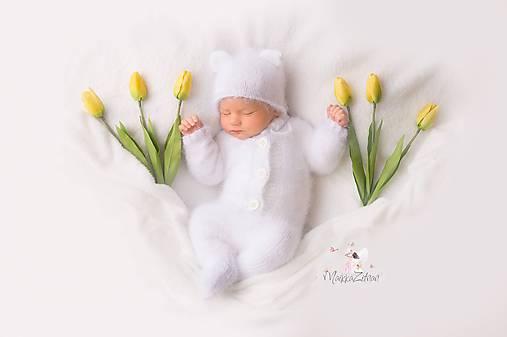 Iné oblečenie - Newborn set Macko/biely - 11458892_