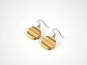 Náušnice - Náušnice drevené - chirurgická oceľ, javor, mahagón - 11457524_
