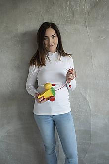Tehotenské/Na dojčenie - Tričko na dojčenie Stojačik White - 11458073_