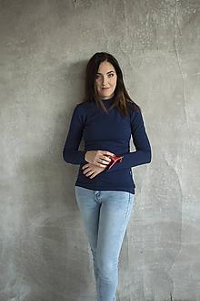 Tehotenské/Na dojčenie - Tričko na dojčenie Stojačik Navy - 11458075_
