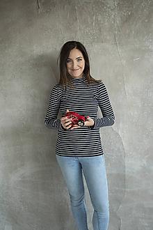 Tehotenské/Na dojčenie - Tričko na dojčenie Stojačik Stripes - 11458094_
