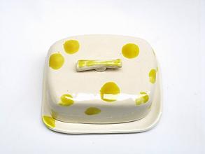 Nádoby - maselnička žltá so žltými bodkami - 11458229_