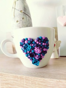 Nádoby - Hrnček Valentín zdobený polymérom - 11458287_
