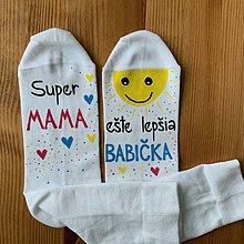 """Obuv - Maľované biele ponožky s nápisom : """"Super MAMA/MAMKA/ ešte lepšia BABIČKA"""" (3) - 11458468_"""