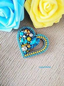 Brošne - Od srdca... brošňa (Tyrkysová+ žltá+ číra) - 11458049_