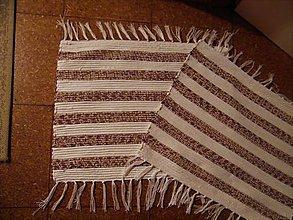 Úžitkový textil - Tkané koberce bielo-hnedé malé 2 ks - 11460204_