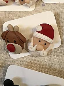 Náušnice - pán Santa a sob Rudolf - napichovačky - 11457507_