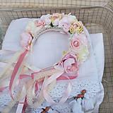 Ozdoby do vlasov - Parta z ruží a pivoniek s perličkami púdrová, ružová, krémová - 11460972_