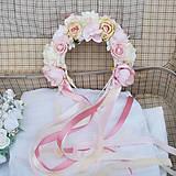 Ozdoby do vlasov - Parta z ruží a pivoniek s perličkami púdrová, ružová, krémová - 11460976_