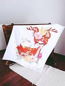 Textil - Minky deka latte so srnkou - 11460883_