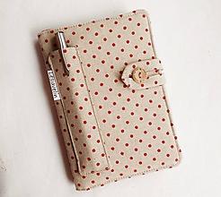 Papiernictvo - Zápisník A6 - Červené guličky na režnej - 11461191_