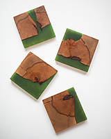 Pomôcky - Živicové podšálky z bukového dreva Green Four - 11463120_