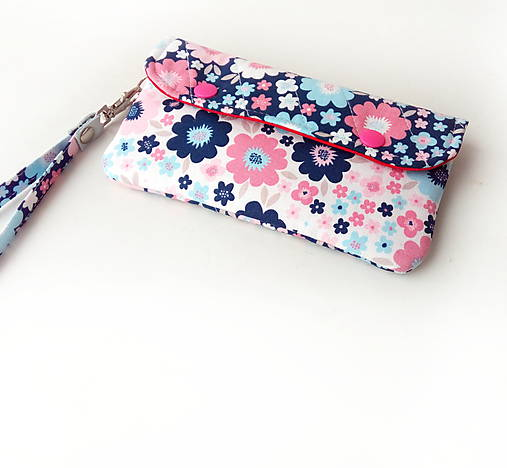 Obal na mobil s priehradkou Kvety dvoch farieb