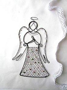 Dekorácie - Anjel vyšívaný drôtom - 11460652_