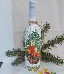 Nádoby - Fľaša s vianočným motívom - 11464031_