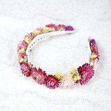 Ozdoby do vlasov - Kvetinová čelenka zo sušených kvetov Ružovo-žltá - 11465410_