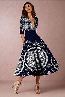 """Šaty - FLORAL FOLK """" Slovenská ornamentika """", spoločenské šaty v dĺžke midi (tmavá modrá + biely akvarel - modrotlač) - 11463975_"""