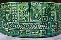 Nádoby - Forma na pečenie chleba - FOLK zelená - okrúhla - 11463835_