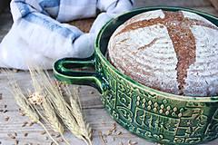 Nádoby - Forma na pečenie chleba - FOLK zelená - okrúhla - 11463837_