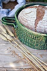 Nádoby - Forma na pečenie chleba - FOLK zelená - okrúhla - 11463838_