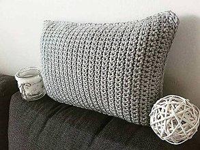 Úžitkový textil - Háčkovaný vankúš ŠEDÝ svetlý - 11463345_