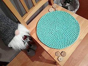 Úžitkový textil - Podsedák háčkovaný bavlnený  (Tyrkysová) - 11463620_