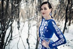 Šaty - Modré vyšívané šaty Poľana - 11465805_