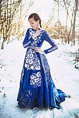 Šaty - Modré vyšívané šaty Poľana - 11465807_