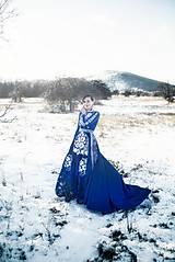 Šaty - Modré vyšívané šaty Poľana - 11465808_