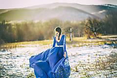 Šaty - Modré vyšívané šaty Poľana - 11465810_