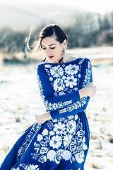 Šaty - Modré vyšívané šaty Poľana - 11465812_