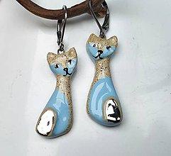 Náušnice - Keramické náušnice - mačičky modré - 11463321_