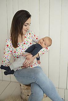 Tehotenské/Na dojčenie - Kvietkované tričko na dojčenie dlhý rukáv - 11463841_