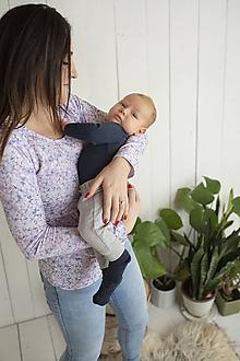 Tehotenské/Na dojčenie - Tričko na dojčenie Lila dlhý rukáv - 11463878_