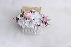 Ozdoby do vlasov - Hrebienok bielo-ružový - 11464402_
