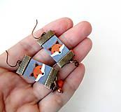 Náušnice - Textilné náušnice Malé líštičky - 11463379_