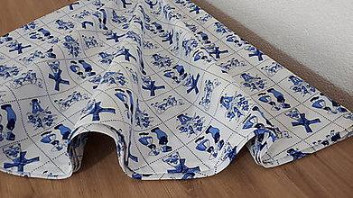 Úžitkový textil - Okrúhly obrus  (Modré dlaždičky) - 11466571_