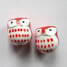 Korálky - Porcelánová sova 13x15mm-1ks - 11467449_