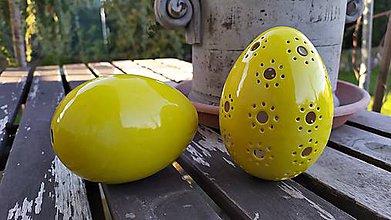 Dekorácie - Žlté keramické vajce madeira - 11466076_