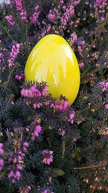 Dekorácie - Žlté keramické kačacie vajce - 11466114_
