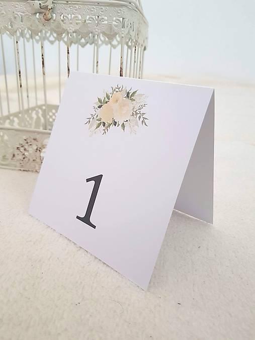 """Čísla na stoly """"Beige rose"""""""