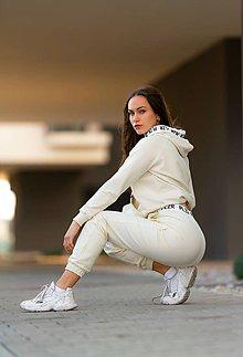 Nohavice - Teplákové nohavice vanila - 11465878_