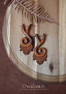 Náušnice - Drevené náušnice slivkové ◈Amazonky◈ - 11466260_